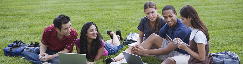 Picture of students studying outside.